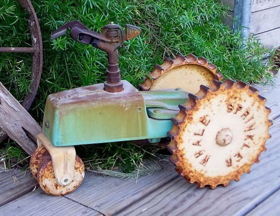 Vintage Cast Iron Whale Tractor Sprinkler Traveling by esther2u2, $95.00