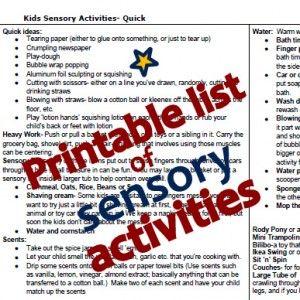 Printable Kids Sensory Activities List
