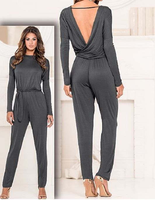 New! Womens Casual Gray Sexy Wrap Jumpsuit Romper Venus Open Back ...