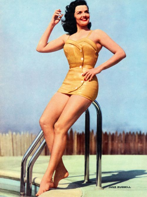 This swimsuit that Jane Russell is wearing? I need this like I need air. This was taken in 1952.