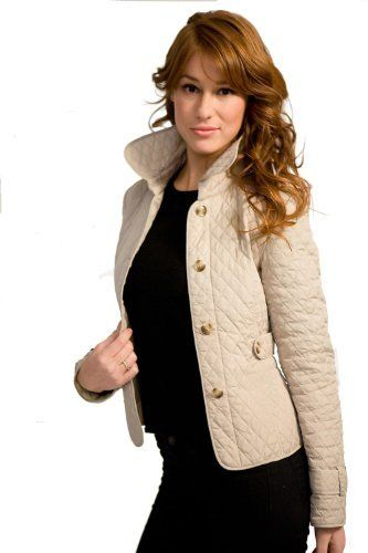 Happy Goat Lucky Stamford quilted short jacket. Size XS, Beige ...
