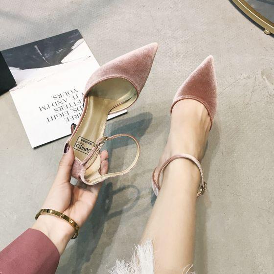 Piekne Rumieniac Rozowy Taniec Zamszowe Buty Damskie 2020 Z Paskiem 10 Cm Szpilki Szpiczaste Na Obcasie Stiletto Heels Pink Stiletto Heels Suede Shoes Women