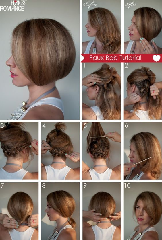 Faux-Bob-braid and pin bottom half of hair, back comb and smooth top, tie in loose ponytail, flip ponytail under and pin hair elastic to braids. Instant short hair! Hmmm gotta try this + curls :)