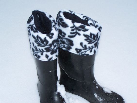 Boot Socks for Women Black and White Flowered Stretch Fleece Slippers Socks Wellie Warmers from Darlas Closet by todarlascloset on Etsy https://www.etsy.com/listing/262353622/boot-socks-for-women-black-and-white