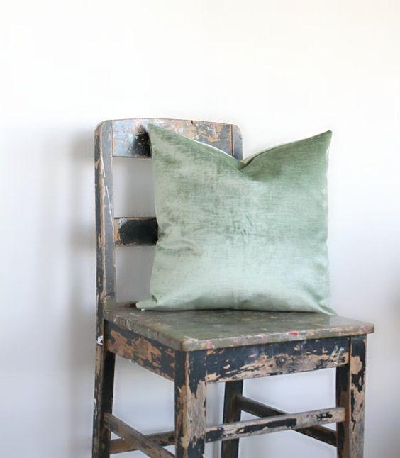 Sage Green Velvet Pillow Cover, All Sizes vintage pale green velvet cushion cover, sage velvet throw pillow decor, distressed velvet, lumber