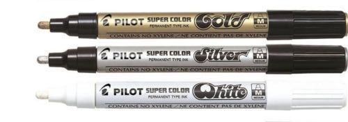 PILOT SUPER COLOR PERMANENT MARKERS AND  PENS METALLIC GOLD //SILVER //WHITE