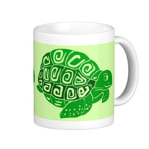 Green Turtles Light Green Mug Drinkware; Abigail Davidson Art; ArtisanAbigail at Zazzle
