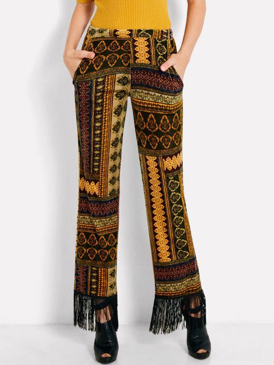 Ornate Print Fringe Hem Velvet Pants -SheIn(Sheinside)