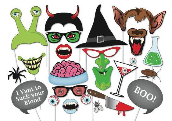 Halloween Photo booth Props Set - 37 Piece PRINTABLE - Witch, Werewolf, Devil…