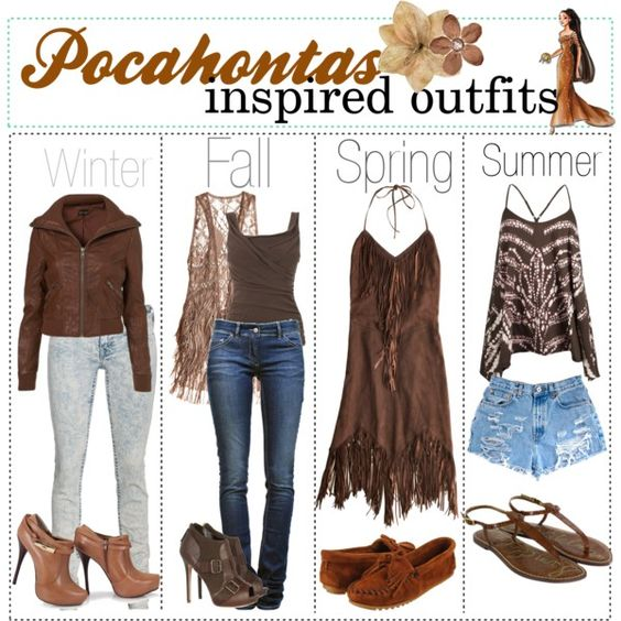 Pocahontas inspired fashion <- So mainly brown and lots of tassels/pattered parts