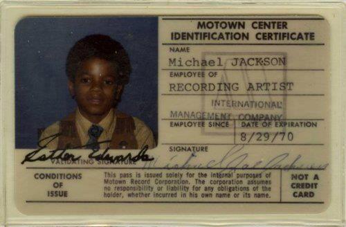 Michael Jackson's Motown ID card.