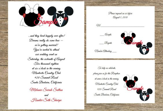 100 Personalized Fairytale Disney Mickey and Minnie Wedding Invitations Set Rsvp