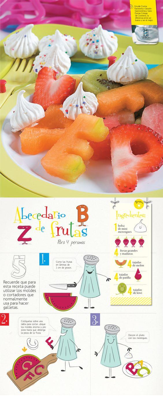 Receta saludable a base de frutas. Ideal para preparar en compañía de sus hijos. Hará que coman bien y se diviertan con las figuras y la preparación.