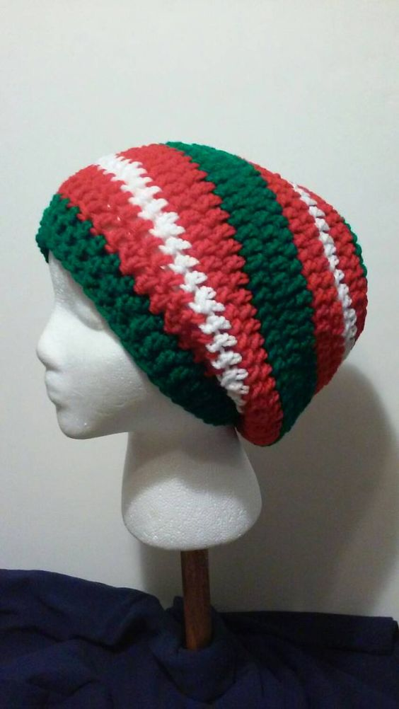 Check out this item in my Etsy shop https://www.etsy.com/listing/243776881/green-red-and-white-striped-crochet