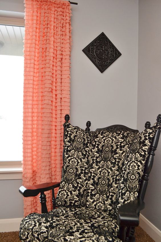 Custom Ruffled Curtain Panel Apricot Orange by avisiontoremember