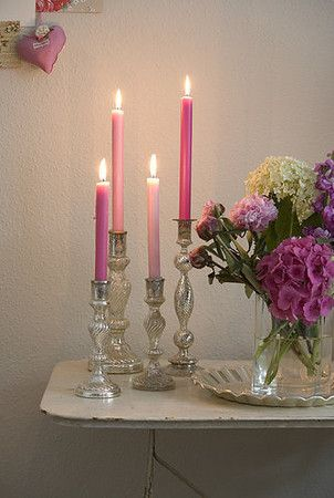 Pink and silver candlelight