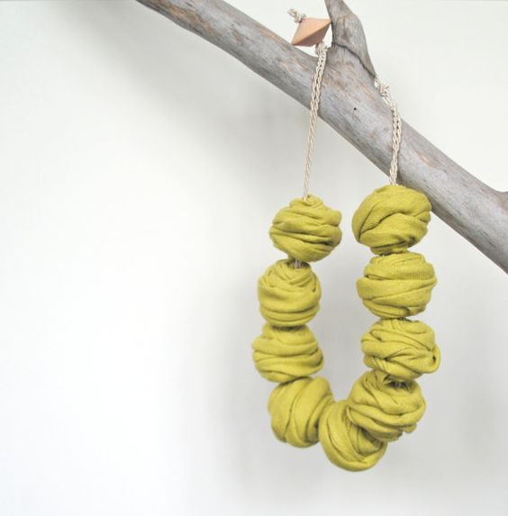 Textile Jewelry / Fiber Jewelry / Linen by MaterialAtelier on Etsy
