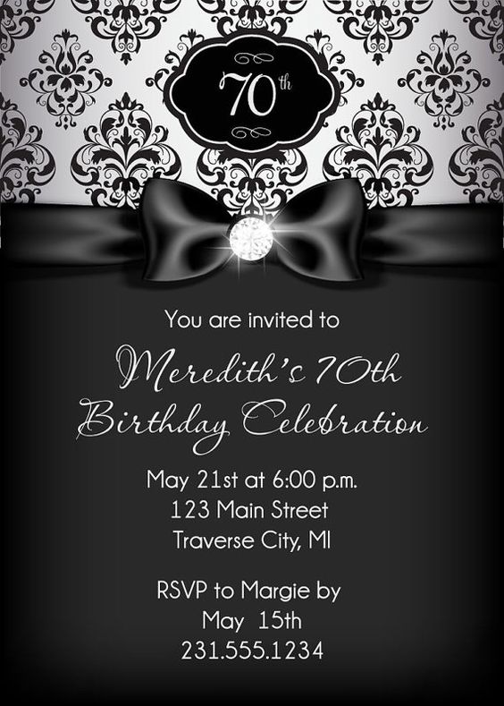Diamond Ribbon Birthday Invitation - Black and Silver Adult Birthday Party Invitation