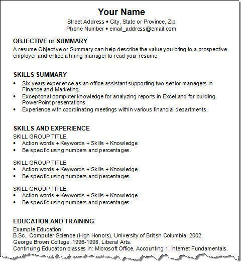 Objective Or Summary Skills Summary Skills And Experience
