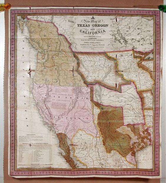 Historically Important Separately Bound 1846 Folding Pocket Map Of Texas Oregon California