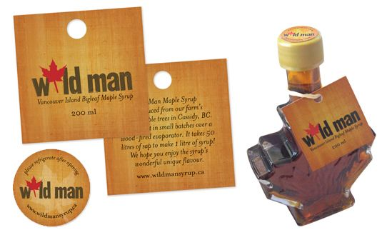 Wildman maple syrup - various applications of the logo to tags, labels, etc