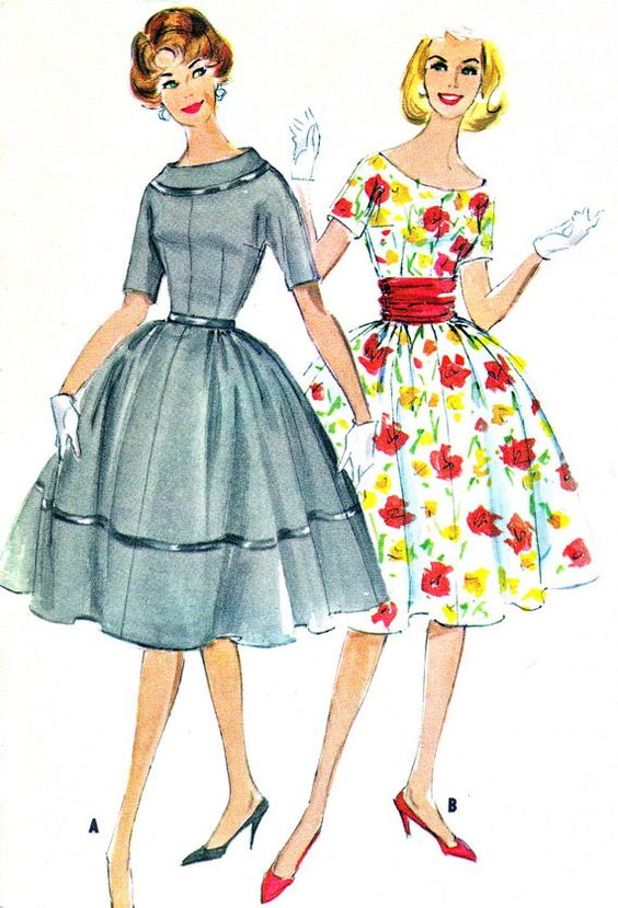 1950s Dress Pattern McCalls 5242 Day Evening Full Skirt Kimono ...