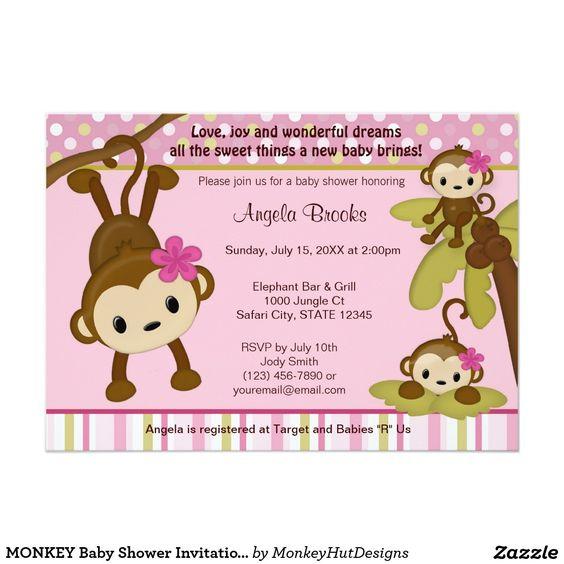 "MONKEY Girl Baby Shower Invitation 3 Little Monkeys Pink 5"" X 7"" Invitation Card"