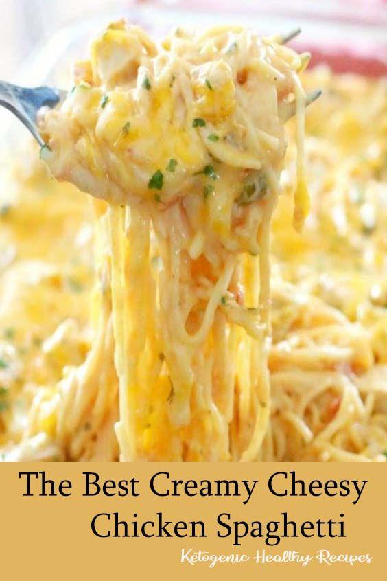 The Best Creamy Cheesy Chicken Spaghetti Cheesy Chicken Spaghetti Chicken Spaghetti Recipes Cheesy Chicken