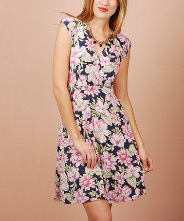 Look what I found on #zulily! Navy & Pink Floral Cap-Sleeve Dress #zulilyfinds