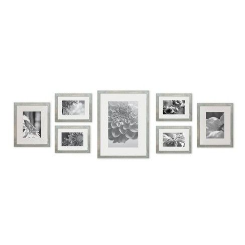 Gallery Perfect 8 X 10 5 X 7 4 X 6 7pc Photo Wall Gallery Kit With Decorative Frame Set Gray Photo Wall Gallery Gallery Wall Frames Picture Frame Gallery