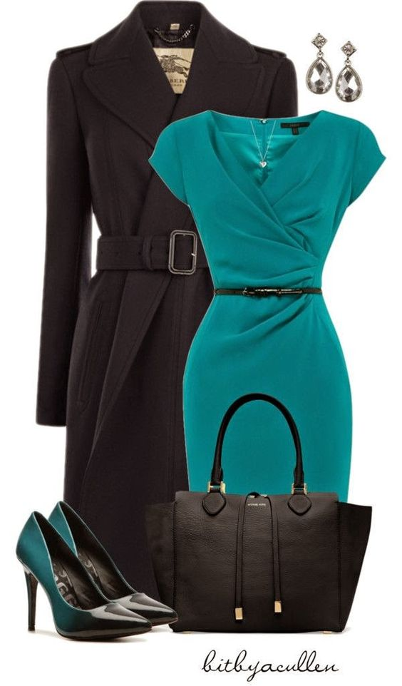 Great color for me. Love the whole outfit...especially fitted dress. Very flattering cut.