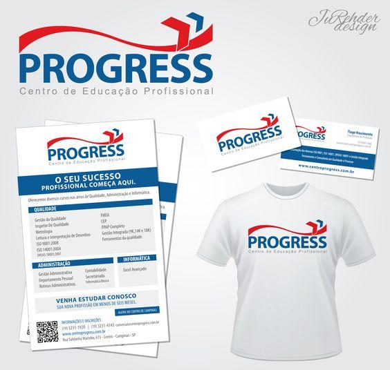 JuRehder - Criação de Logo e material institucional, cartão de visita, camiseta e Folhetos para Escola Progress.