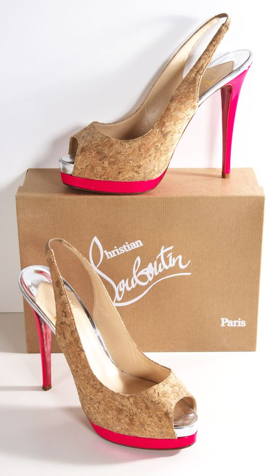 Christian Louboutin ~ 'Catenita' Cork Peep Toe Slingbacks 2014