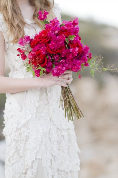 Floral Photo Shoot from Flower Talk- hot pink bouganvillea and red roses