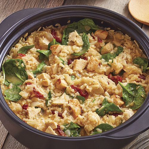 Easy No-Stir Risotto - The Pampered Chef® Delish stovetop & microwave-prepared recipe! View more recipes & purchase your RockCrok at https://www.pamperedchef.com/pws/alyssa152