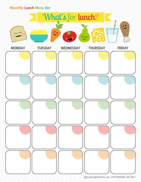 Weekly Lunch Menu Planner | Organize | Pinterest | Bar ...