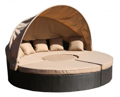 Outdoor day bed with half canopy, sectional, wicker. yes, please!