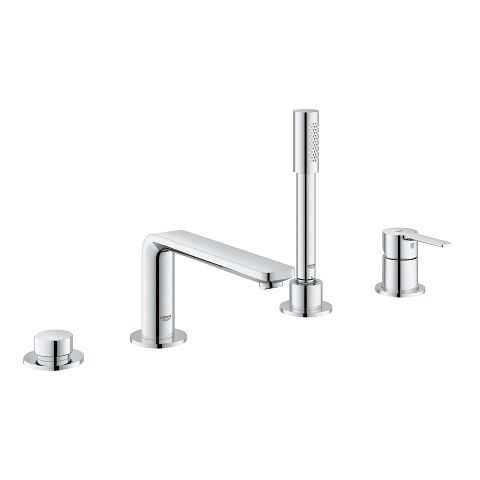 Waterfall 4-Hole Roman Tub Faucet with Hand Shower Deck Mounted Bathtub Filler