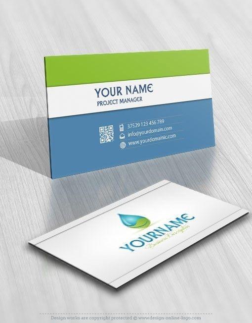 Exclusive Design Eco Water Logo Free Business Card Online Logo Design Free Business Cards Eco Logo Design