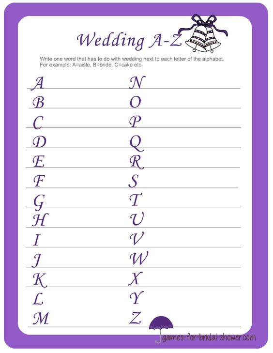 Bridal Shower Alphabet Game Ask The Guests To Write A