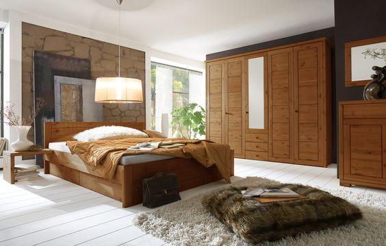 Rauna Komplett Schlafzimmer massiv mit Bett Kiefer provence