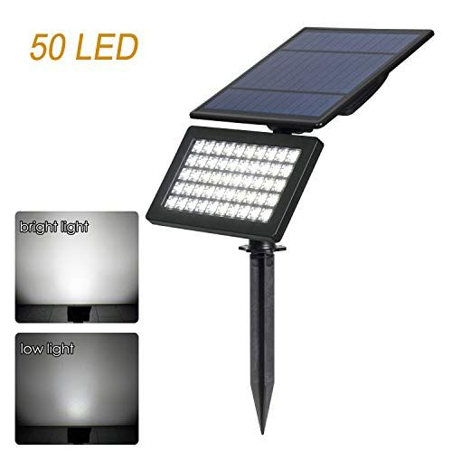 50 Led Solar Spotlights Sunrise 5w Solar Garden Light 2 Modes Flood Lights Outdoor Adjustable Auto On Off Security Lighting For Yard Garden Driveway 6000k Wh