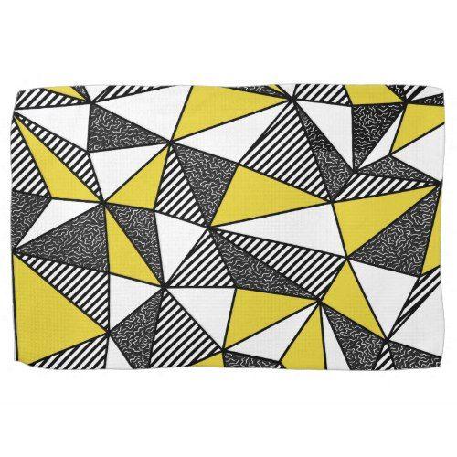 Retro Yellow Black Geometric Triangle Art Hand Towel Geometric Triangles Art Triangle Art Triangle Drawing