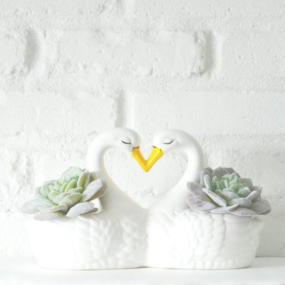 Swans Heart Novelty Planter by ButtercupLaneVintage on Etsy