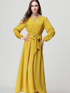 Fashion Wholesale Hot Dress Solid Color Chiffon Ball Gown Dress Yellow Maxi Dress