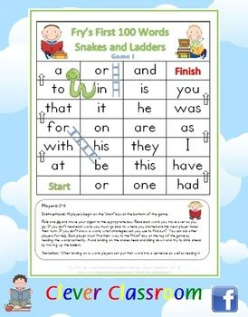 FREE Fry's First 100 Words Snakes and Ladders Games x 6 - PDF file6 pages designed by Clever Classroom.These six, fun snakes and ladders ga...