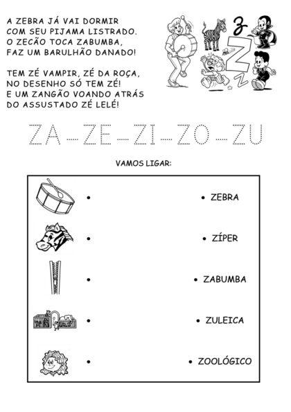 fotos atividade silabica letra z