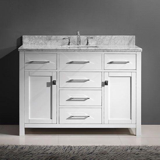Tiffany 48 Single Bathroom Vanity Cabinet Set In Grey With Images Single Bathroom Vanity Marble Vanity Tops White Vanity Bathroom