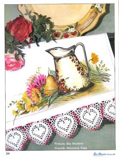 Pintura em tecido, pano de prato.