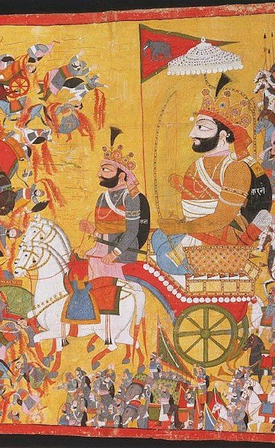 detail Karna in his chariot the battle scene from the Mahabharata ca. 1820